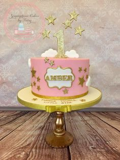 Twinkle twinkle little star cake aliyah first birthday in 20 Baby Birthday Cakes, First Birthday Themes, Baby Girl 1st Birthday, First Birthday Cakes, Happy Birthday Banners, Birthday Ideas, Star Cakes, Twinkle Twinkle Little Star, 1st Birthdays
