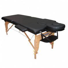Maca Mesa De Massagem Dobrável Portátil Fidler Divã 2 Seções Preta
