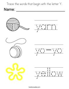 Trace the words that begin with the letter Y Coloring Page - Twisty Noodle Alphabet Tracing Worksheets, Free Kindergarten Worksheets, Tracing Letters, Phonics Worksheets, Homeschool Kindergarten, Homeschooling, Preschool Education, Kids Learning Activities, All About Me Printable
