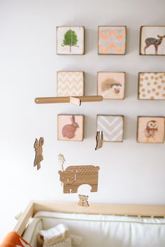 Vintage woodland theme ... wood block art and wood mobile with deer, bears…