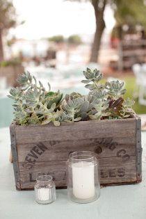 rustic wedding decor - even has fresh herbs like sage. Hmm