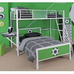 Powell Furniture 14Y2015LB Goal Keeper Soccer Theme Twin Loft Bed