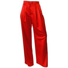Preowned 1980s Escada Couture Red Silk Wide Leg Trouser (9.560 ARS) ❤ liked on Polyvore featuring pants, bottoms, red, wide leg pants, high-waisted wide leg pants, red high waisted pants, 80s pants, high waisted silk pants and wide leg trousers