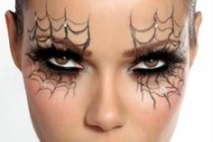Spider Web Halloween Make-up. the oppisite of Cinderella, Spiderella make up ; Beautiful Halloween Makeup, Halloween Eye Makeup, Halloween Eyes, Halloween Zombie, Last Minute Halloween Costumes, Halloween Spider, Easy Halloween, Spider Costume, Halloween Clothes