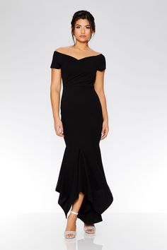 e3531b6b07 Black Wrap Bardot Dip Hem Dress - Quiz Clothing Black Bardot Dress, Black  Bridesmaid Dresses