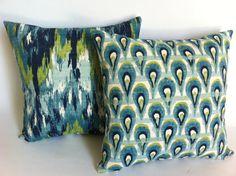 Mad Men Decor Set of 2 Decorative Throw Pillow Covers 18x18 Inch Aqua Blue Accent Pillow