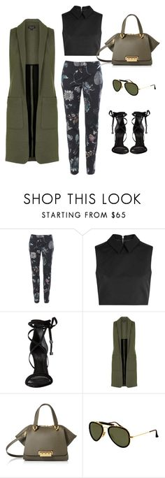"""""""#50"""" by daria-aleksandrova ❤ liked on Polyvore featuring Versus, McQ by Alexander McQueen, Schutz, Topshop, ZAC Zac Posen and Ray-Ban"""