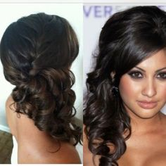 Bridesmaid hair. Up do. Front and back! Side pony with curls, French braid. //  This is the hair style for stephs wedding