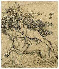 The rape of Europa, who lies along the back of the bull who charges through the sea with a landscape behind Engraving Giovanni Battista
