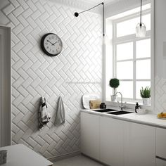 The Metro tile known by its iconic rectangular shape with bevelled edge, has shot to fame and increased in popularity. Here is some Metro tile inspiration. Metro Tiles Bathroom, Kitchen Wall Tiles, Design Bathroom, Brick Effect Wall Tiles, Traditional Tile, White Tiles, Sweet Home, Home Decor, Subway Tile