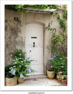 """""""French front door surrounded by flowers""""  - Art Print from FreeArt.com"""