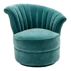 Eichholtz Aero Chair Right - Cameron Deep Turquoise - Elegant right hand position Art Deco swivel chair with upholstered turquoise velvet upholstery.  Channel a touch of Gatsby glamour into your interior space with the Eichholtz Aero Chair Right.  Drawing inspiration from the striking silhouettes and sumptuous upholstery of 1920s Art Deco armchairs, Aero exudes vintage glamour and timeless appeal.  Presented in a right and left position (left configuration sold separately), Aero is…