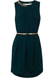 Oasis Paloma Embellished Dress in Green