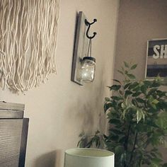 Hanging mason jar wall sconce set of 2 mason jar sconce with Mason Jar Wall Sconce, Hanging Mason Jars, Mason Jar Lighting, Colored Mason Jars, Painted Mason Jars, Rustic Wall Sconces, Rustic Walls, Farmhouse Wall Decor, Rustic Decor