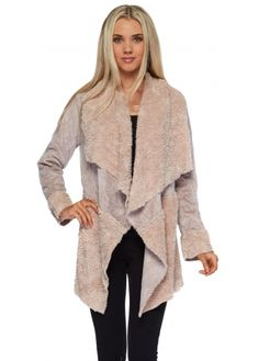 Monton Grey Faux Shearling Waterfall Collar Jacket | Monton ...
