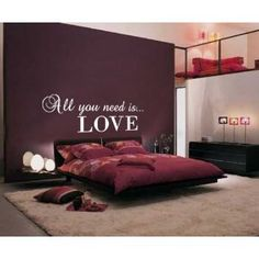 (LARGE) ALL YOU NEED IS LOVE BEDROOM QUOTE VINYL WALL ART DECAL STICKER 14 COLOURS AVAILABLE