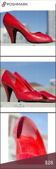 """Mr Seymour Spain Python Print Leather Heels 7 AA Mr. Seymour Spain vintage style high heels:  Red snake embossed leather  Leather outer soles Peep Toe  True to size 7 NARROW, (AA) Heel Height: 3.5"""" Rare  BROWSE OUR OTHER STYLISH SHOE SELECTIONS Mr. Seymour Spain  Shoes Heels"""