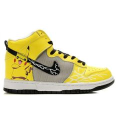 314fe4d56072 Pikachu Nike Dunks Pokemon High Tops Shoes For Adults   Cool High Tops  Nikes Dunks Adidas Converse Cartoon Shoes