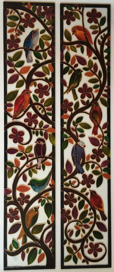 New painting glass doors colour ideas Glass Painting Patterns, Glass Painting Designs, Stained Glass Patterns, Glass Painting Colours, Stained Glass Paint, Stained Glass Suncatchers, Stained Glass Panels, Glass Wardrobe, Wardrobe Doors