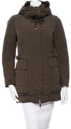 Dark grey Phillip Lim coat with flap pockets, detachable hem featuring zip, epaulets at shoulder, spread collar and center front zip closure. Green Parka Coat, Fur Trim Coat, Hooded Parka, Moncler, Mantel, Raincoat, Winter Jackets, Stylish, Green Fur
