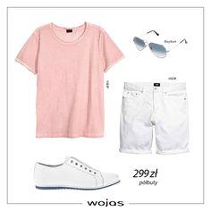 Białe, jeansowe szorty świetnie współgrają z t-shirtem w kolorze różu tworząc letnią stylizację. Uzupełnieniem zestawu są perforowane półbuty Wojas (https://wojas.pl/produkt/23911/polbuty-meskie--6029-59 ) oraz okulary.