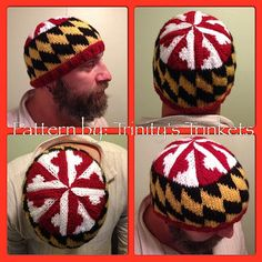 Made in Maryland - Maryland Flag Hat knitting pattern.  This fun pattern celebrates the beauty of the MD flag!