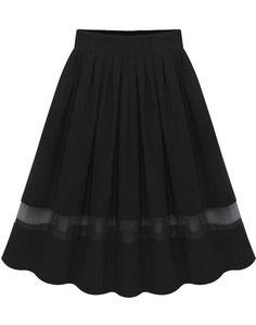 jupe en mousseline plissé taille élastique -Noir 16.11