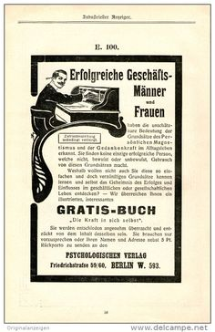 """Original-Werbung/Inserat/ Anzeige 1904 : """"DIE KRAFT IN SICH SELBST""""-PSYCHOLOGISCHER VERLAG BERLIN - ca. 180 x 110 mm"""