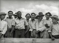 "Los Braceros  May 1943. ""Corpus Christi, Texas. Truckload of Mexican and Negro farm laborers."""