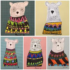 Pen and line technique art project for kids. Bear with sweater illustration – Britt Curley Pen and line technique art project for kids. Bear with sweater illustration Pen and line technique art project for kids. Bear with sweater illustration Line Art Projects, Animal Art Projects, School Art Projects, Children Art Projects, Art Projects For Adults, Art Lessons For Kids, Art Lessons Elementary, Art For Kids, Art Project For Kids