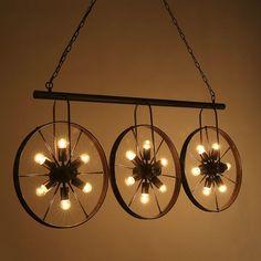 Industrial Loft Wheel Pendant Ceiling Light Cafe Store Coffee Shop Bar Club Lamp