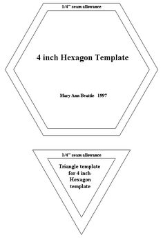 6 inch hexagon pattern use the printable outline for for Quilting hexagon templates free
