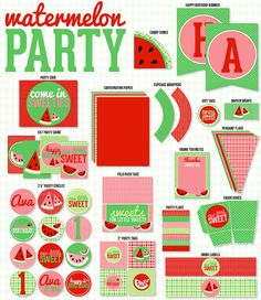 Red Watermelon Party PRINTABLE Full Collection by Love The Day