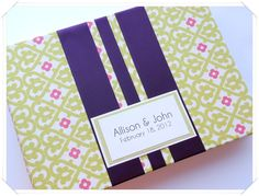 lime and plum wedding guest book custom made