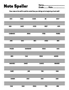 Note Speller- Lines and Spaces Letter Names Practice good for bass or treble clef