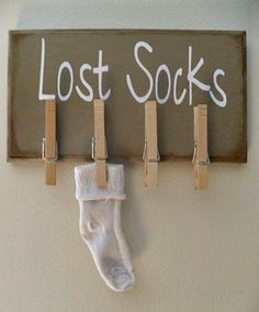 "DIY Lost Socks sign for laundry room. I'd make with a ""Lost Socks Seeking Sole Mates"" in cursive above. Home Projects, Craft Projects, Craft Ideas, Lost Socks, Home Decoracion, Ideas Para Organizar, Laundry Room Storage, Laundry Rooms, Laundry Decor"