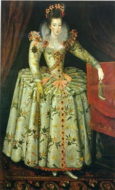 Anne Vavasour, attributed to John de Critz the elder, c. 1605.  Daughter of Henry Vavasour of Tadcaster and Margaret Kynvet, she was one of Elizabeth's Ladies of the Bedchamber.  Mistress to Edward de Vere, 17th Earl  of Oxford (married to Anne Cecil) and later to Sir Henry Lee of Ditchley.   By both of these she had sons.  She also married bigamously.  Sir Henry seems to have been genuinely attached to her; his effigy shows him recumbent in armor with an efficy of Anne at his feet.