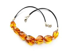 Cognac large Baltic amber beads necklace with leather by amberarea