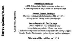 Can't make it to our benefit concert, but want to support our cause? #JAJams raffle tickets are now on sale! ~ 1 for $20 or 3 for $50~ Don't miss out on your chance to win a Baltimore Ravens fanatic package, an exciting date night prize, or even a Kenny Loggins signed guitar! Contact Colleen Ensor at censor@jamaryland.org or 410-753-3286 to purchase yours today!