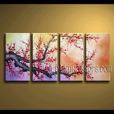 Huge Contemporary Wall Art Artist Oil Painting For Bed Room cherry blossom. This 4 panels canvas wall art is hand painted by Bo Yi Art Studio, instock - $139. To see more, visit OilPaintingShops.com
