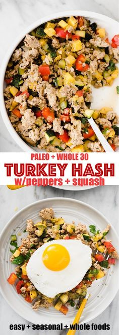 Ground turkey hash is one of my favorite and paleo breakfast prep recipes. It's a fast easy hearty and healthy ground turkey recipe that's naturally paleo gluten free and low carb. Ground turkey hash i Whole Foods, Paleo Whole 30, Whole Food Recipes, Healthy Recipes, Diet Recipes, Paleo Meals, Healthy Turkey Recipes, Natural Food Recipes, Paleo Food
