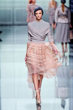 Christian Dior Otoño-Invierno 2012/2013-transparent fabric skirt-use white yellow from stash