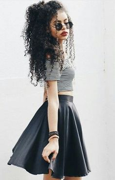 There is 1 tip to buy this skirt: black grunge wishlist curly hair leather skater crop tops striped top round sunglasses. Long Curly Hair, Curly Girl, Curly Hair Styles, Natural Hair Styles, Short Hair, Afro Girl, Long Natural Hair, Black Curly Hair, Girl Hair