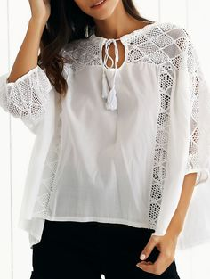 Hollow Out Lantern Sleeve Spliced Blouse