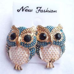 Large Blue and White Owl Stud Earrings