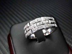 14K White Gold Mens Diamond Wedding Band