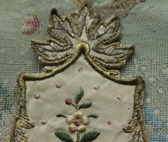 Antique gorgeous French silk metal applique by duchesstrading