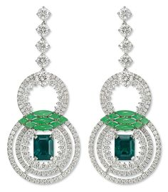 "#Chaumet - #earrings from ""Lumières de l'eau"" collection 2014. #Whitegold, set with #diamonds, sculpted #chrysoprase and two #emeraldcut - #emeralds from #Colombia, one weighing 2.51 carats, the other 2.52 carats"