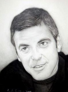 Charcoal Portraits George Clooney