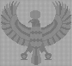 Egyptian falcon cross stitch.
